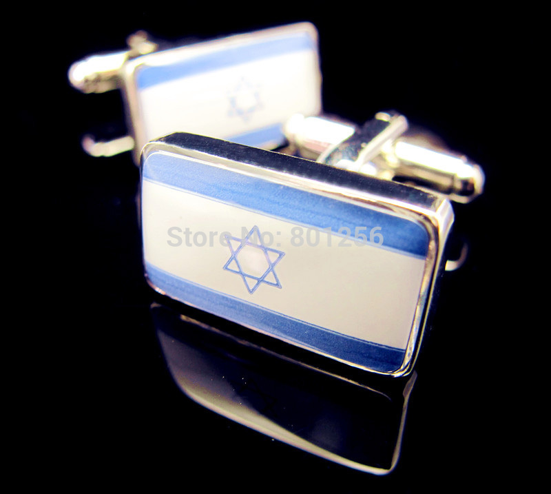 Gemelos de bandera de envío gratis color azul Bandera de Israel - Bisutería - foto 2