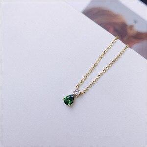 Image 4 - Vintage Natürliche Smaragd Halskette Anhänger Für Frauen 100% 925 Sterling Silber Grün Edelstein 18K Gold Schlüsselbein Kette Feine Schmuck