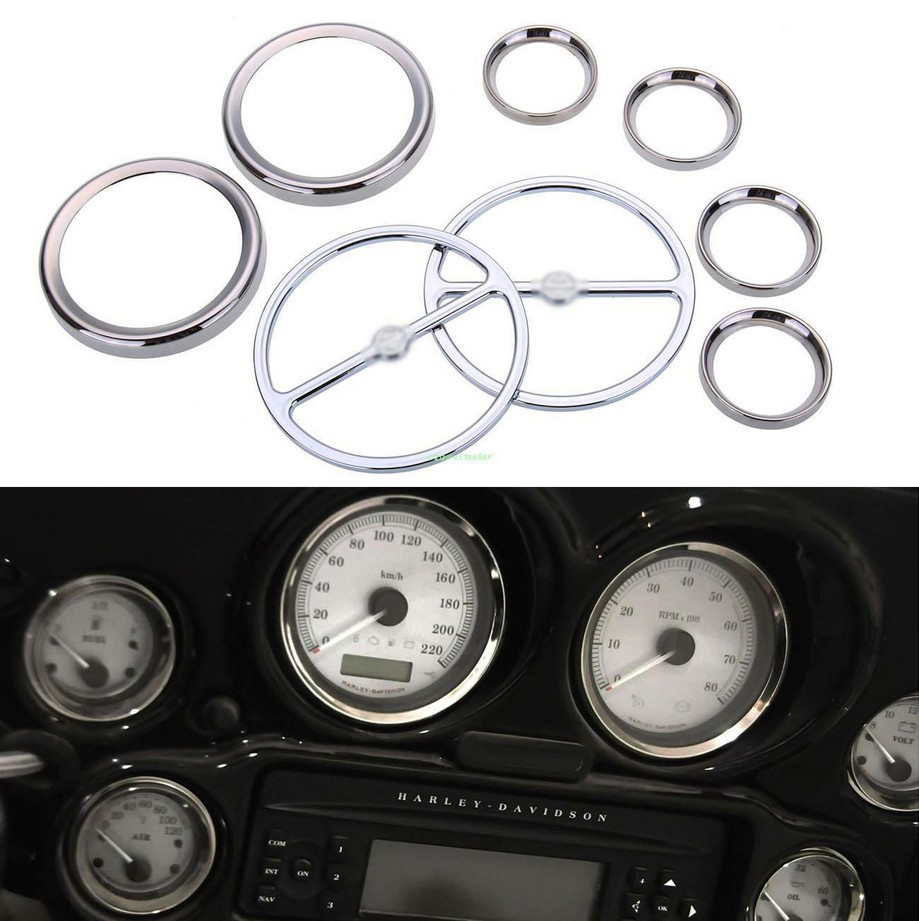 scooter parts/ 8pcs Chrome Speedometer Gauges Bezels and Horn Cover case for Harley Davidson Touring / free shipping 6 black windshield bag saddle 3 pouch pocket motorcycles bag case for harley davidson touring 1996 2013 free shipping