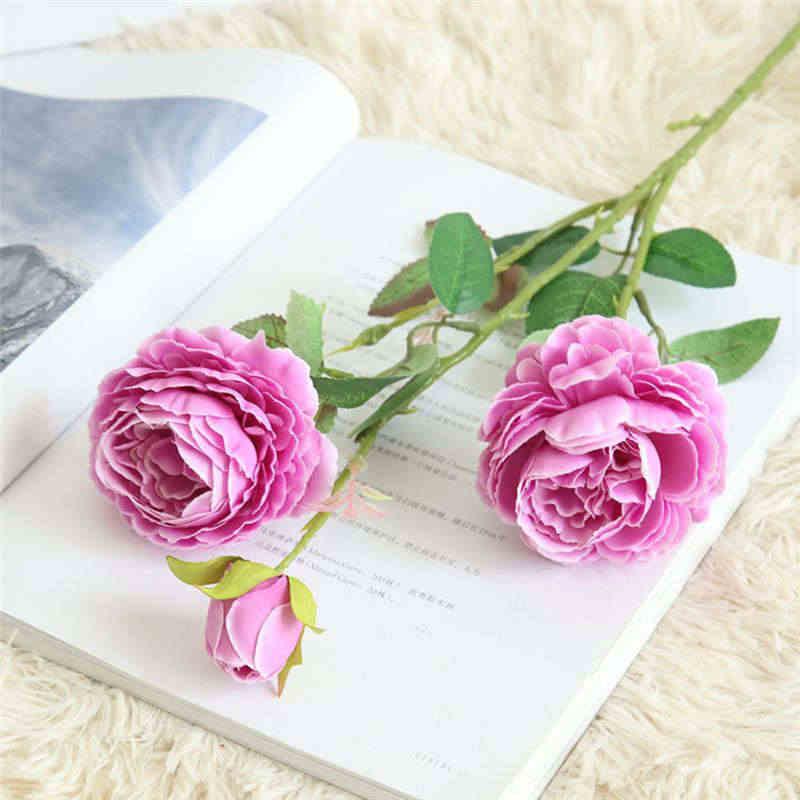 61 centimetri Artificiale Falso Occidentale Fiore della Rosa Del Peony Bouquet Da Sposa Da Sposa Partito Complementi Arredo Casa Ortensia Viola Verde 19MAR5