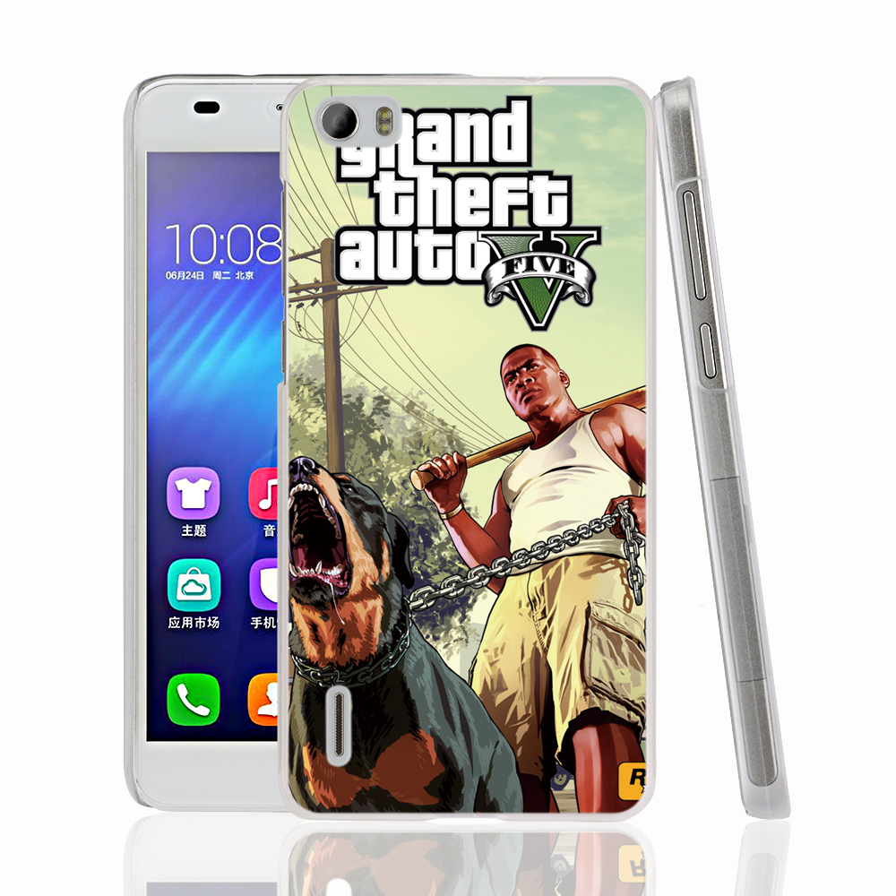 22691 GTA V 5 Franklin and Chop cell phone Cover Case for huawei honor 3C 4A 4X 4C 5X 6 7 8 V8 Y6