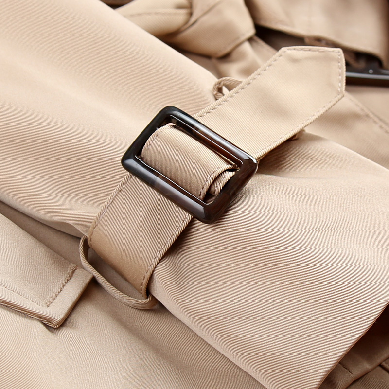 2019 New Fashion Double Breasted Mid long Trench Coat Women Khaki Slim Belt Cloak Mujer Windbreaker