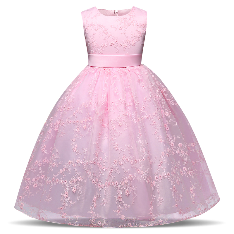 Size 120 140 Kids Girls Crochet Flower Girl Dress Elegant Princess Party Pageant Formal Dress Sleeveless Tulle Lace Long Dresses long criss cross open back formal party dress