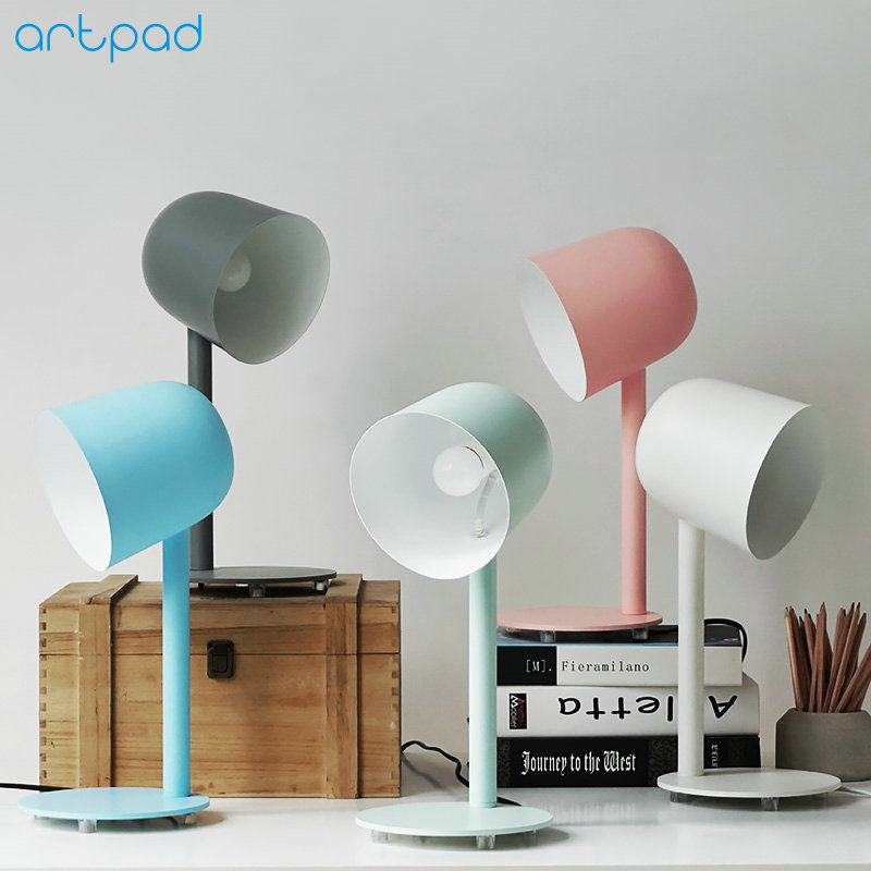 ArtPad Nordic Minimalist Desk Light Metal Sconces E27 Lamp Base Creative Mini Bedside Table Desktop Lamp For Living Room Study artpad emerald green bank lamp antique chinese light red solid base classic table lamps for study living room bedroom decorative