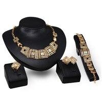 Ventas calientes de la Boda Nigeriano Beads Africanos Joyería Establece Dubai Conjuntos de Joyas de Oro Traje de Diseño Largo Romántico Caja de Regalo Libre