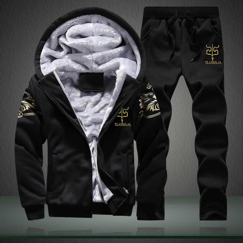 M-4XL Winter Innere Fleece Hoodies Männer 2019 Casual Kapuze Warme Sweatshirts Dicken Trainingsanzug 2PC Jacke + Hose Männer Moleton masculino