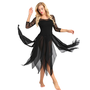 Image 5 - Женская Асимметричная юбка для танца живота iiniim, шифоновая юбка с Боковым Разрезом, гимнастический купальник для взрослых, танцевальная юбка