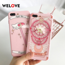 New lovely Anime Cartoon  Magic array For iPhone 7 case Wand glass cute Angel wings Cover Iphone 6 6S 8 plus X XR XS Max
