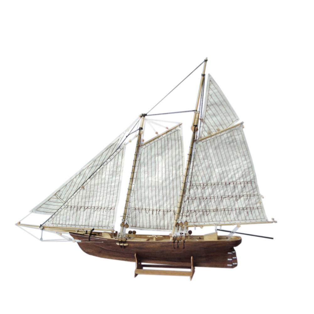 HobbyLane 1:120 DIY Boat Wooden Assembly Sailing Ship Model Classic Sailing Boat Laser Cutting Process Puzzle Toys DIY Wooden