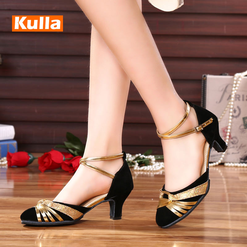 Closed Toe Latin Modern Dance Shoes Outdoor Soft Sole Women's Tango Ballroom Dancing Shoes Ladies Heels 5.5cm Sandals Wholesale
