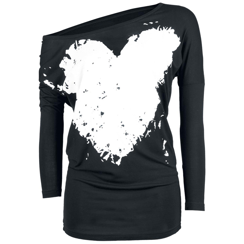 2017 Spring Summer Cotton T-shirt Women Tops Tee Print Heart-shaped T Shirt Loose Long Sleeve Tops