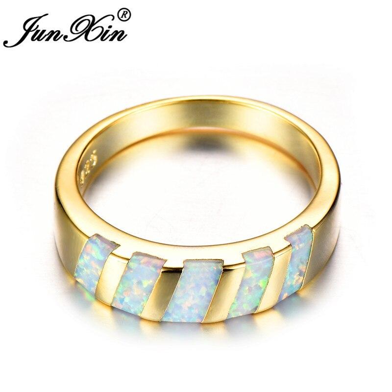 8bfa86632360 JUNXIN Vintage blanco fuego ópalo anillos para las mujeres hombres ...