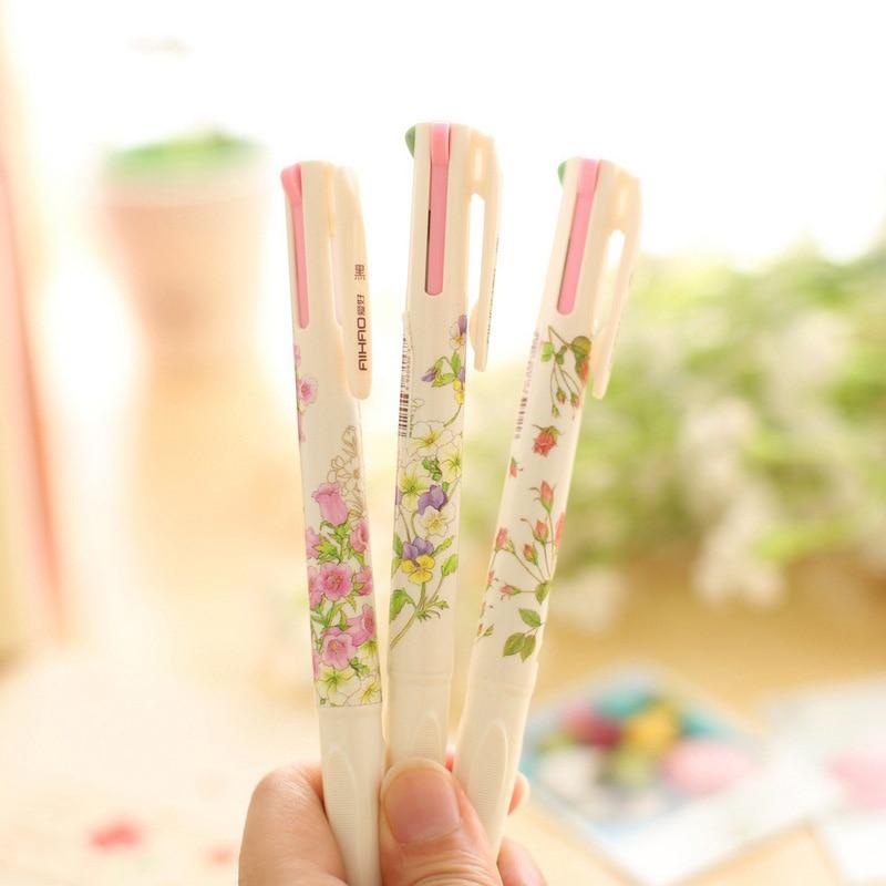 4 Colors  Cute Kawaii Flower Plastic Ballpoint Pen Creative 0.5 mm Ball Pen For Office School Supplies Gifts Korean Stationery
