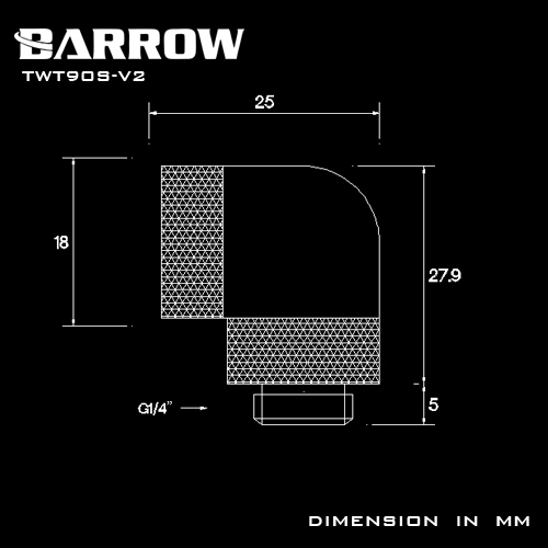 Купить с кэшбэком BARROW G1/4'' thread 90 degree Rotary Fitting Adapter Rotating 360 degrees Rotary water cooling accessories Adaptors TWT90S