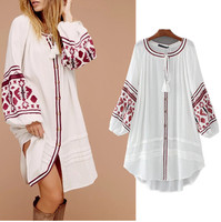 Free Shipping Vestidos Ukraine Women Summer Dress 2017 Vintage Bohemian Embroidery Purecotton Loose Tassel Dress Plus