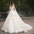 Белое свадебное платье плюс размер Свадебные Платья Кружева Аппликации арабский Свадебное Платье 2017 Милая бальное платье арабский свадебные платья