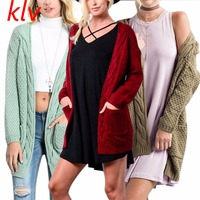 Autumn Women Open Front Knitted Long Sleeve Sweater Woman Cardigan Coat With Pockets