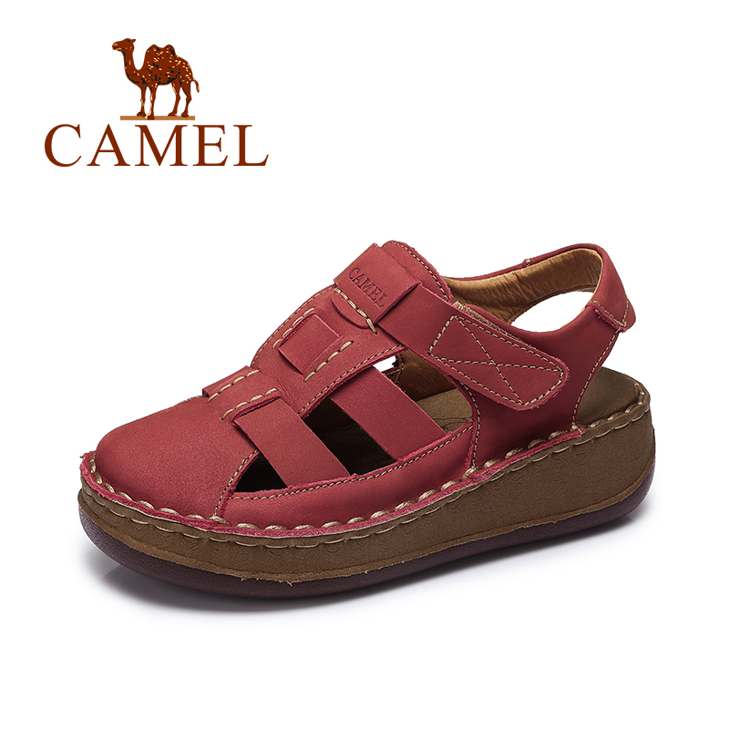 Camel Female Sandals Summer Comfortable Thick Cowhide Leather Paste Casual Slope Sandals A61354605 camel men s outdoor anti collision toe cap cowhide casual beach sandals summer breathable river sandal male a622309222