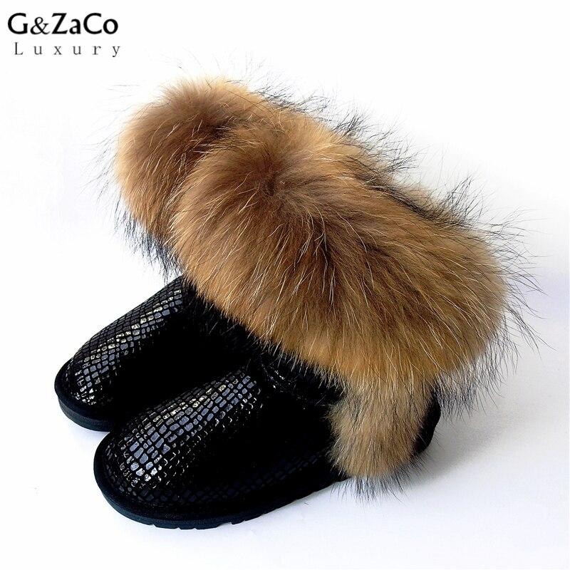 Tehénbőr hó csizma Valódi bőr hó cipő boka nagy természetes róka szőrme Raccon szőrme csizma fekete vízálló téli cipő