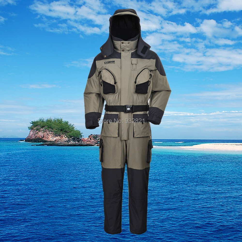 Qf 919 free shipping men 39 s coverall floatation suit for Waterproof fishing clothing
