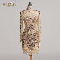 Wuzhiyi Long Sleeves Sexy Illusion Dress Prom Cystom Made Beading Crystal Prom Dresses 2017 Vestido Formatura