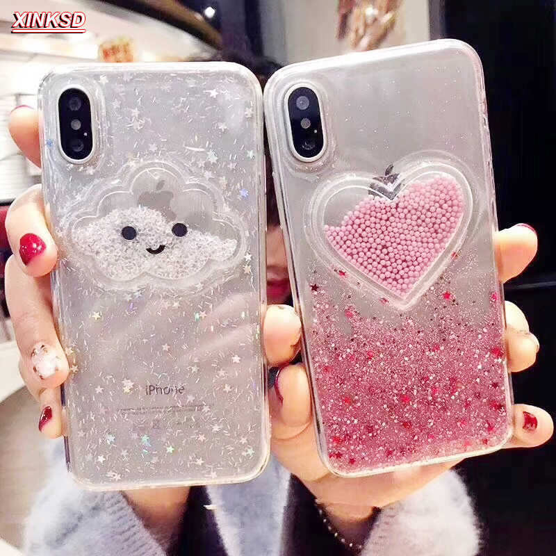 Liquid Heart Glitter SMILE Face Clouds สำหรับ iPhone 6 6 S 7 8 PLUS X XS 11 Pro MAX Ice Cream Soft TPU Dynamic ลูกปัด COVER