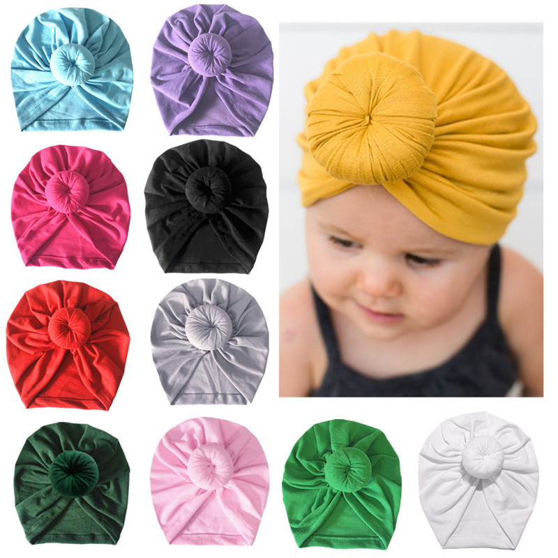 Infant Headbands Solid Cotton Kont Turban Headband For Girls Spandx Stretchy Beanie Hat Headwear Baby Hair Accessories