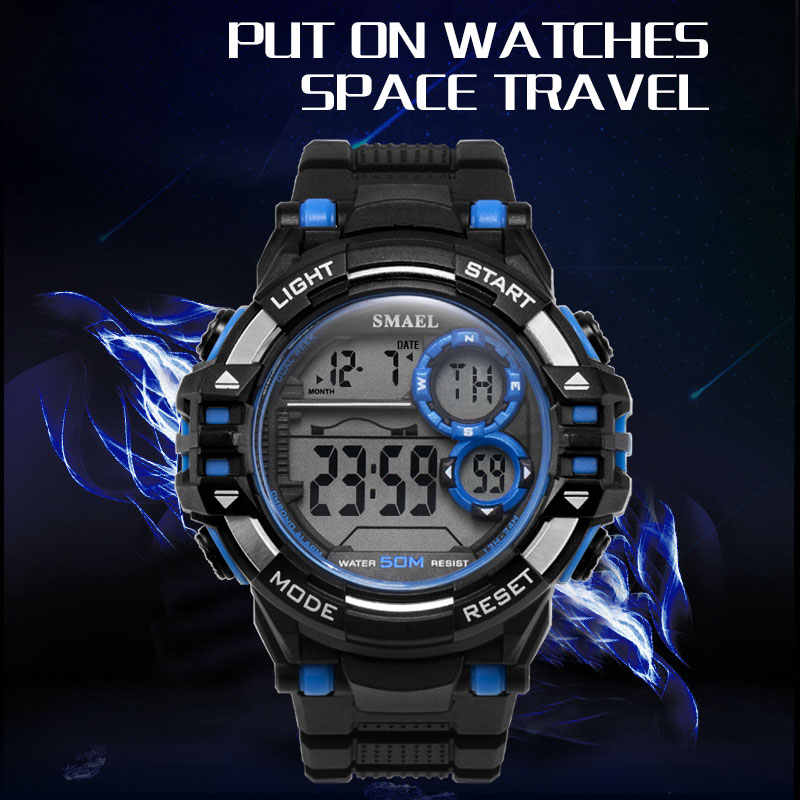 Digital Wrsitwatches Sports Outdoor SMAEL New Watches Black Men Watch Automatic Fashion Clock 1515 Waterproof Sport Watches LED