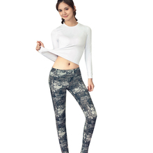 Vertvie Tracksuit For Women Yoga Set Long Sleeve T Shirts + Printed Skinny Legging Pants Running Sports Sets Quick Dry Fitness