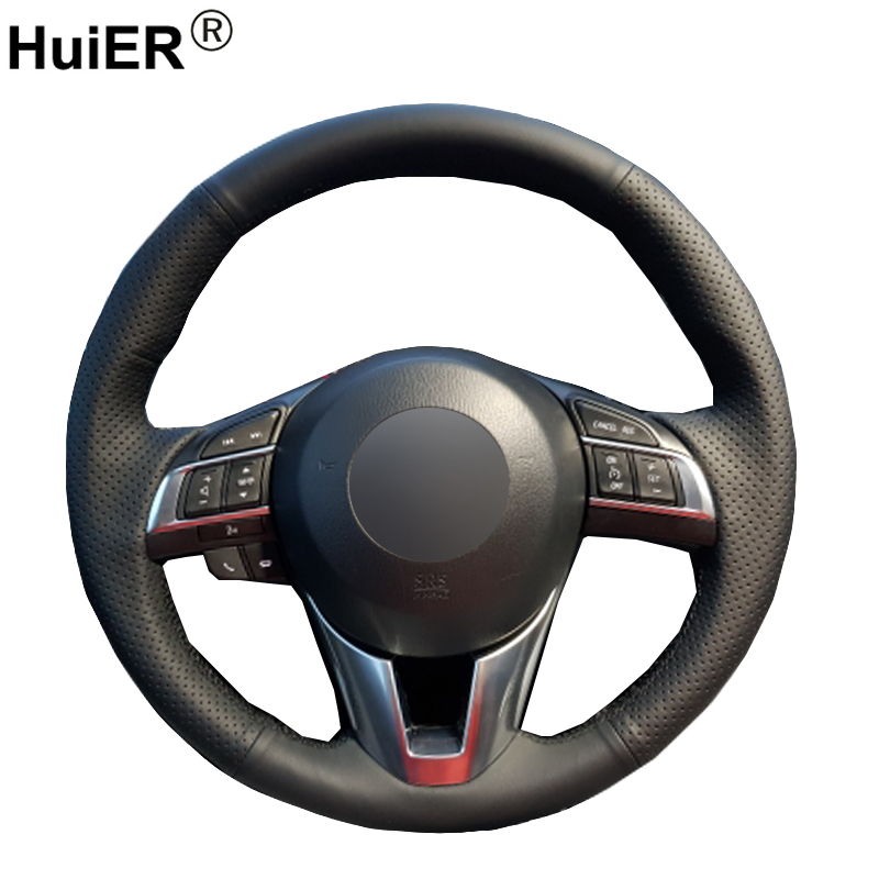 HuiER Hand Sewing Car Steering Wheel Cover Black Leather For <font><b>Mazda</b></font> CX-5 <font><b>CX5</b></font> Atenza 2014 New <font><b>Mazda</b></font> 3 CX-3 <font><b>2016</b></font> Scion iA <font><b>2016</b></font> image