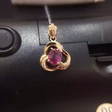 2016 Summer Romantic 18K Rose Gold 0 944ct Red Tourmaline Natural Diamond Settings Necklace Pendant Jewelry