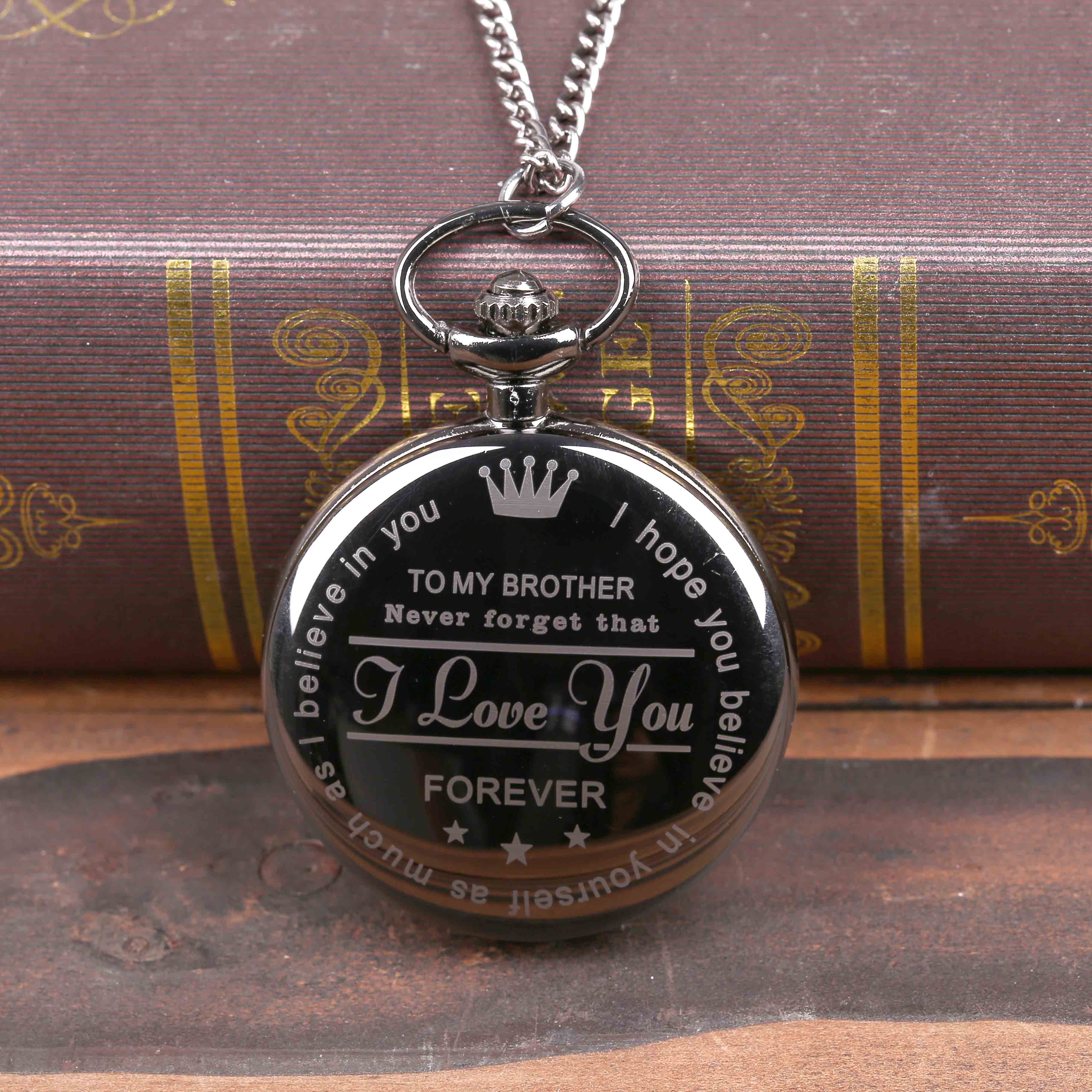 FOT Pocket Watch Personalized Pattern Steampunk Retro Vintage Quartz Roman Numerals Pocket Watch 'TO MY Brother' Boys Watch Gift