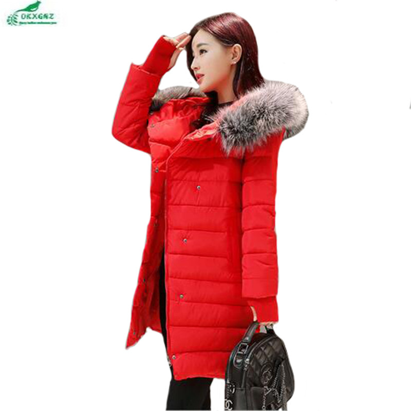 Winter cotton Outerwear female slim long section coat women cotton leisure hooded fur collar large size women coat OKXGNZ QQ943 winter feather cotton women outwear long section thick section slim hooded coats large fur collar large size down jacket lx165