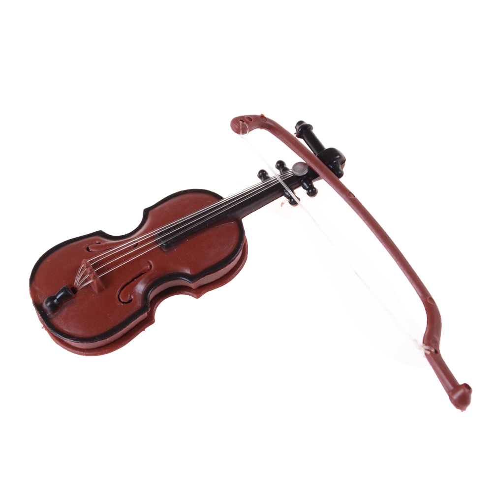 Figurines Plastic Mini Violin Dollhouse Crafts Music Instrument Miniatures DIY 1/12 Dolls House Wooden Violin with Case Stand