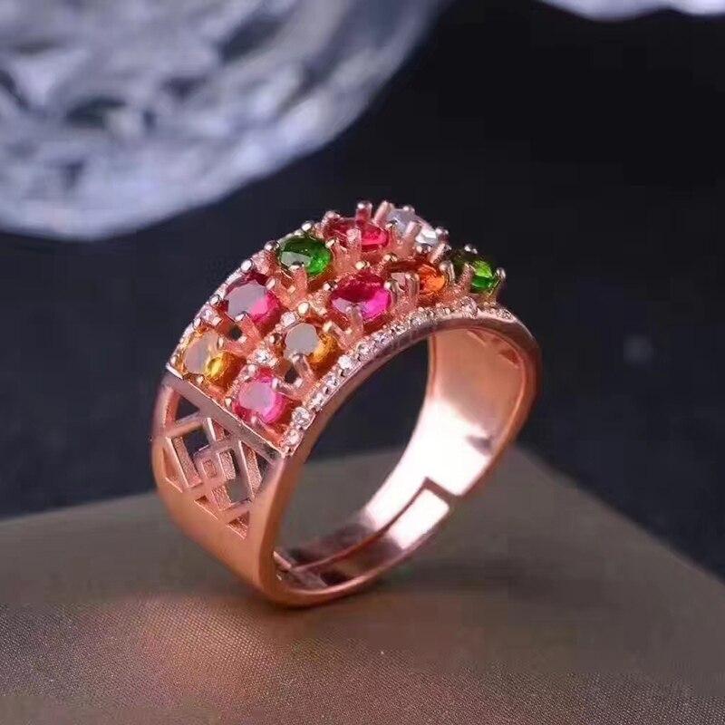 Czysta 925 srebrny szeroki pierścień z turmalin 10 sztuk naturalne multicolor kolor turmalin pierścień sterling silver turmalin pierścień w Pierścionki od Biżuteria i akcesoria na  Grupa 3