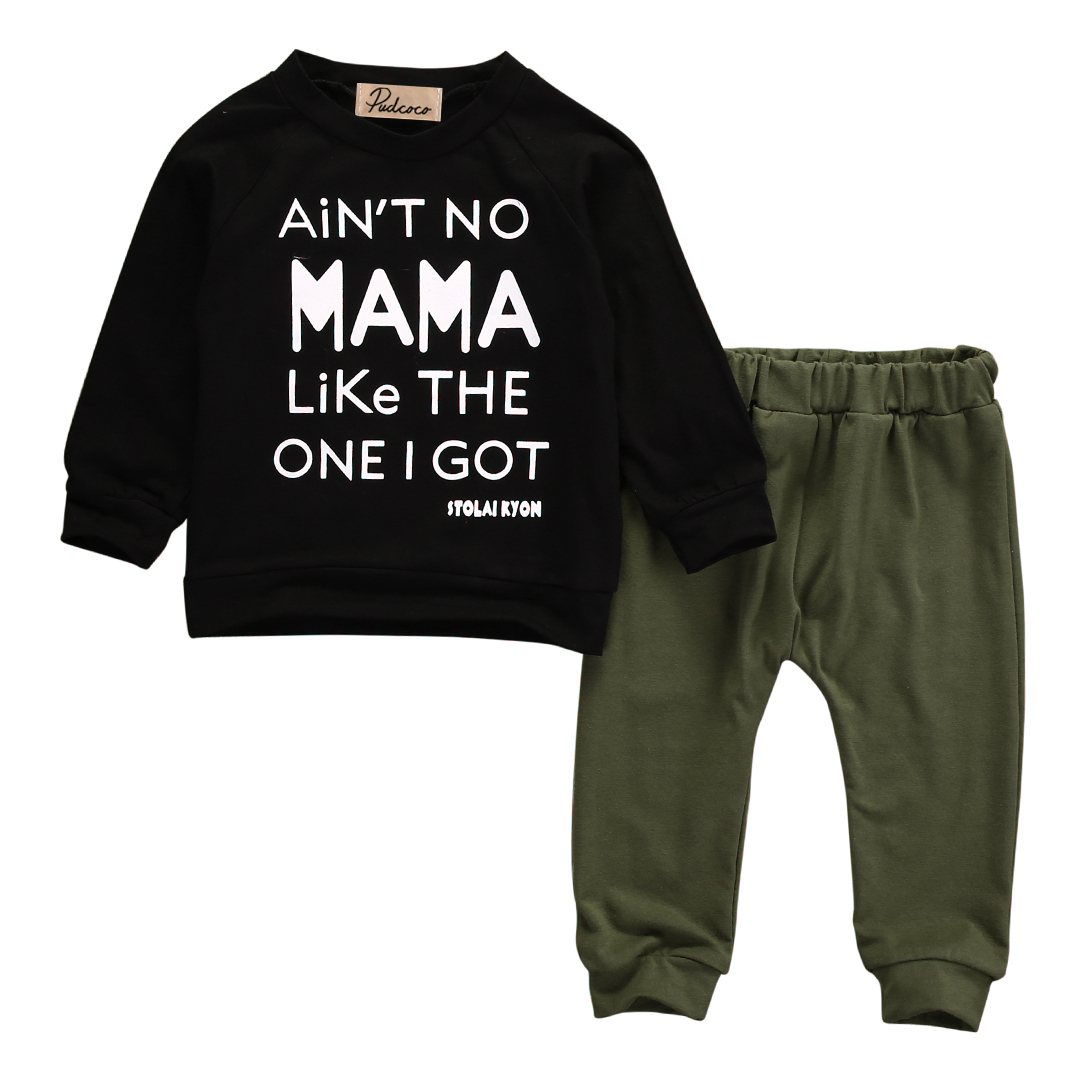 Dropshipping Autumn Fashion baby boy clothes black cotton long-sleeved letter mama T-shirt+pants newborn baby boy clothing set