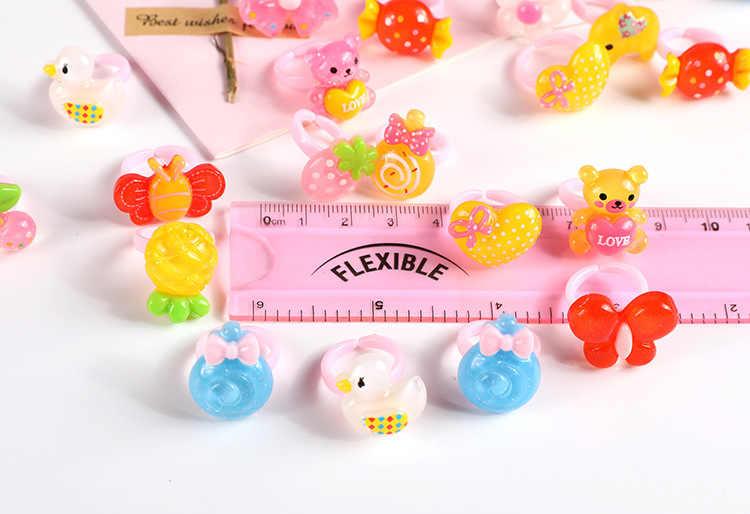 12 adet halka çocuk takı moda renkli renkli halka sevimli kız hediyeler güzel meyve fırçalama hayvan prenses takım elbise çeşitleri