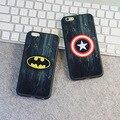 Marvel capitán américa caja del teléfono para iphone 6 6 s plus 5 5S Película Brillante de TPU + Acrílico Cubierta Del Caso Caliente de Teléfono cubierta