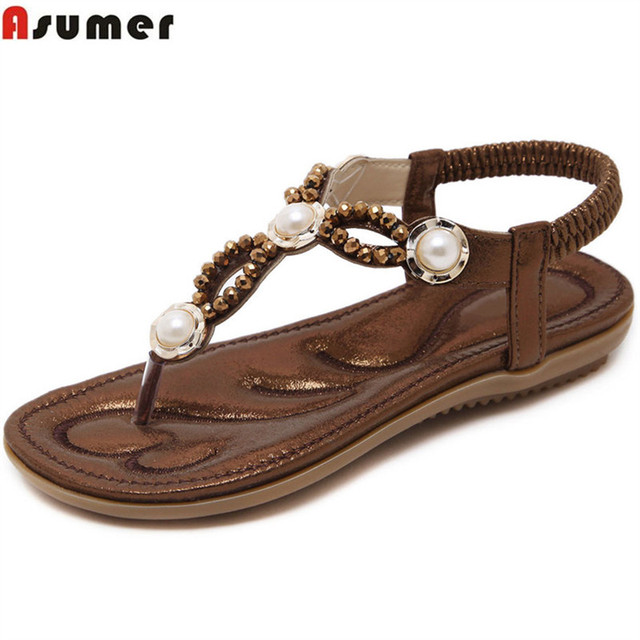 ASUMER Coffee gold fashion summer shoes women casual comfortable big size 35-42 crystal 2018 new arrival sandals women