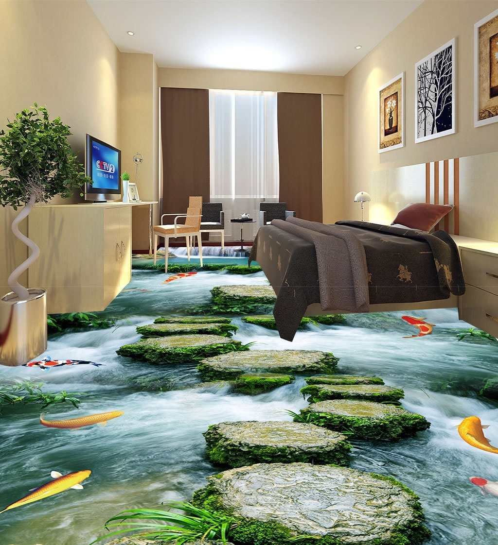Large 3D Wall Stickers Stone Path To The Bathroom Floor Mural Decals Creative Design For Home Deco In From