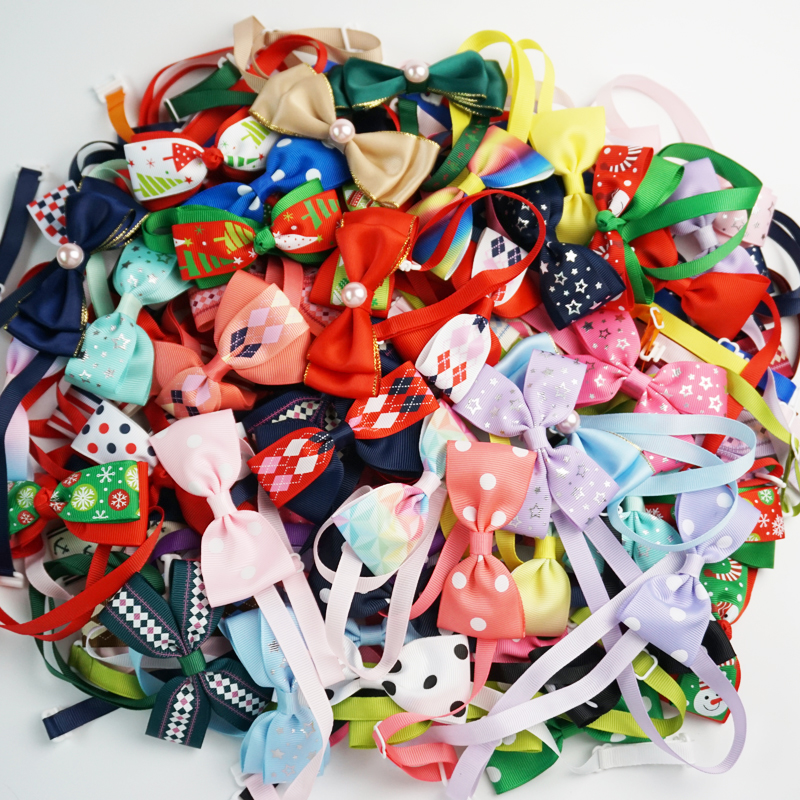 (100 Pieces/lot) Cute Dog Bow Tie 10 Styles Handmade Ribbon Cat Neck Tie Small Large Dog Accessories 81 Colors Pet Supplies