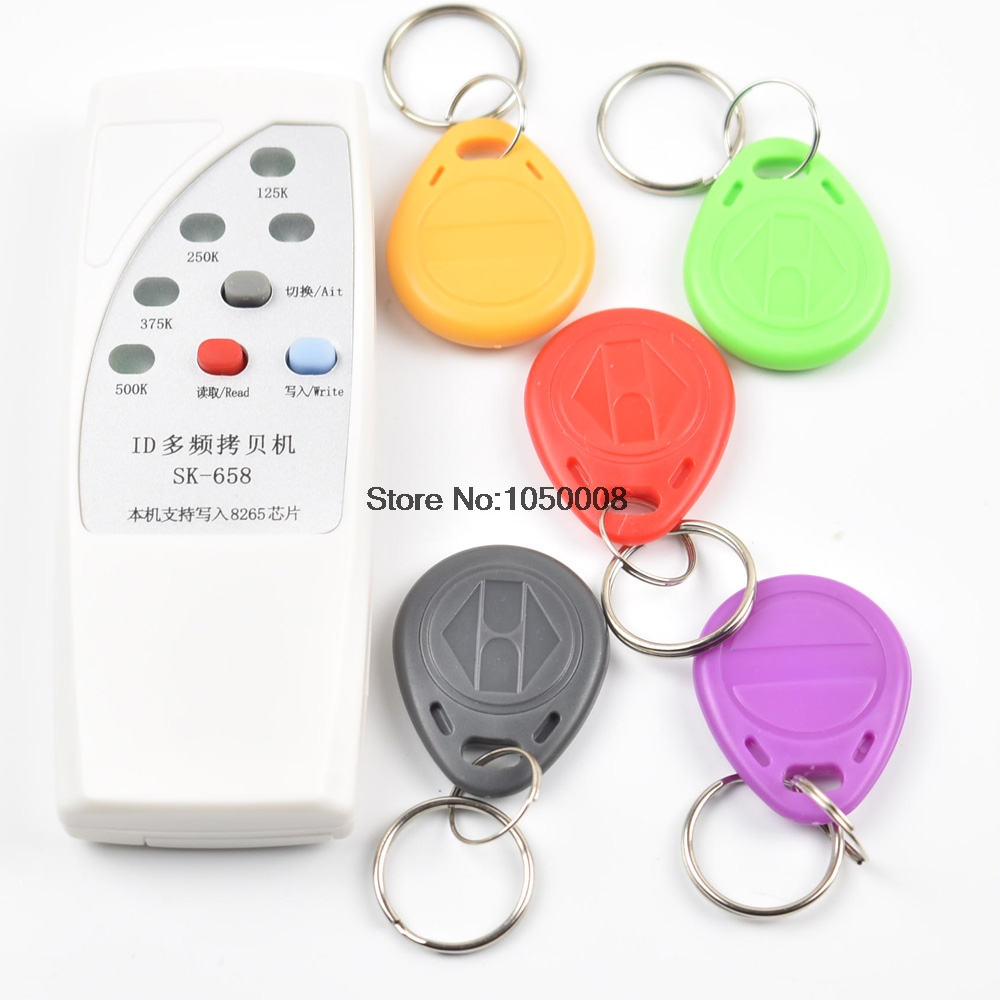 125khz id card access control door RFID Copier Duplicator Cloner EM reader writer +5x EM4305 T5577 5200 writable keyfob handhold 125khz 13 56mhz id ic rfid card copier duplicator reader write 9 frequecny compatible m4305 5200 t5577 uid