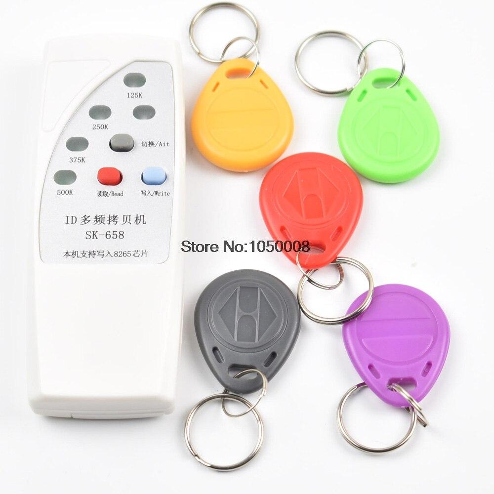 125 khz carte d'identité porte de contrôle d'accès RFID Copieur Duplicateur Cloner EM lecteur écrivain + 5x EM4305 T5577 5200 inscriptible porte-clés