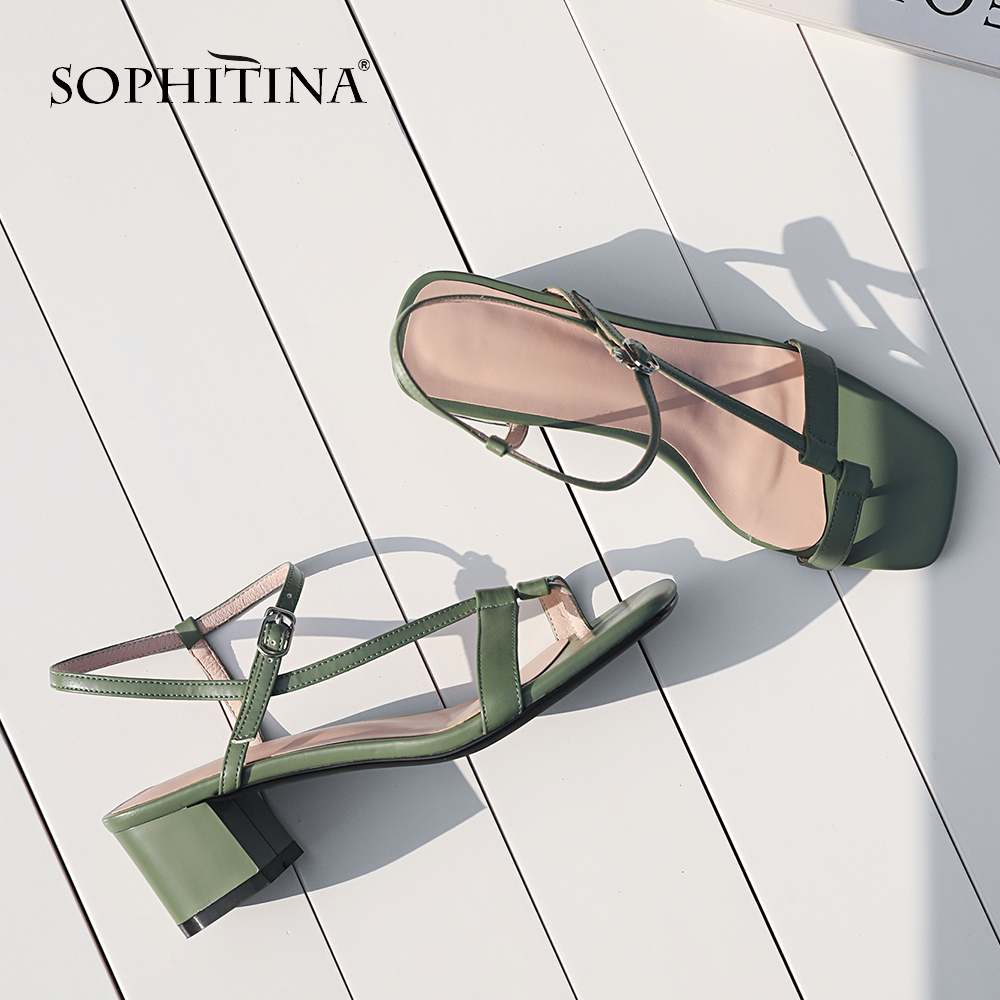 SOPHITINA Comfortable Square Heel Sandals Explosion Summer Fashion Solid Literary Style Women's Shoes New Hot Sale Sandals SO14