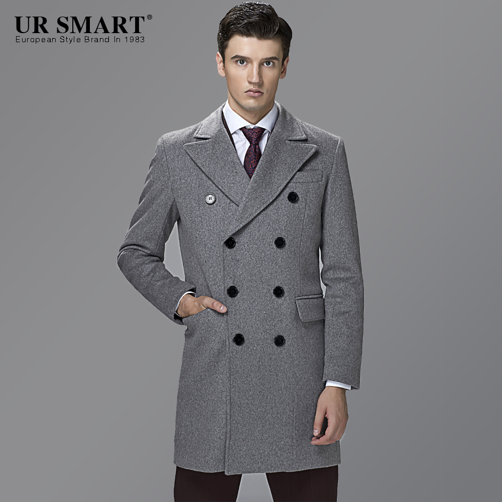 74012606e36 British style URSMART double-breasted business men in the wool coat long  grey coat