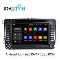 JDASTON 7 ANDROID 7,1 dvd плеер автомобиля gps радио для Skoda VW Passat B6 поло Golf Touran T5 Jetta caddy Tiguan Бора Seat 2 г Оперативная память