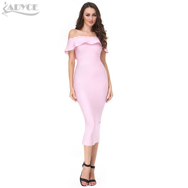 2017 New pink Off The Shoulder strapless Bandage Dress blue Red Bodycon Elegant  Luxury Noble party Dress women bodycon dress
