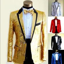 Певец и ведущий мужские блейзеры куртка блестки костюмы на одной