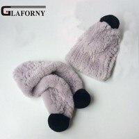 Glaforny 2018 New Rex Rabbit Fur Hat and Scarf Set for Kids Winter Warm Fur Muffers Caps Fur Balls