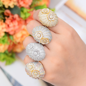 Image 2 - GODKI odważne stosy pierścień luksusowe kwiat koło CZ Cubic cyrkon pierścień CZ dla kobiet Bridal zaręczyny ślub dubaj pierścienie